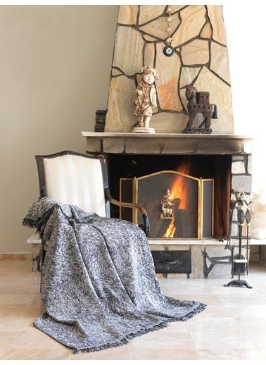 Eponj Home Keten Koltuk Örtüsü 170x220Cm Linen Siyah Siyah